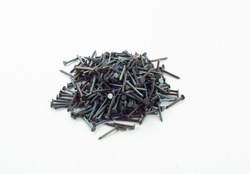 black iron nails, industrial equipment, factory hardware, isolated object, design element
