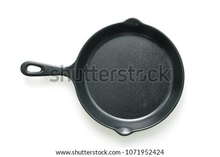 Black iron pan isolated on white background #1071952424