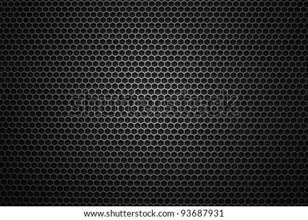 Black iron speaker grid texture. Industrial background.