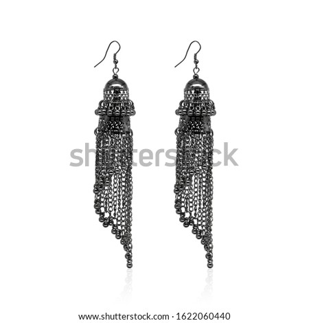 Black Isolated Earring Ethnic Indian Style. Bohemian Jewellery. Stylish Silver Oxidized Earrings. Multicolor Beads Earrings. eardrop Earrings. Dangle Drop Stud Earring