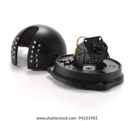 Black isolated video surveillance camera