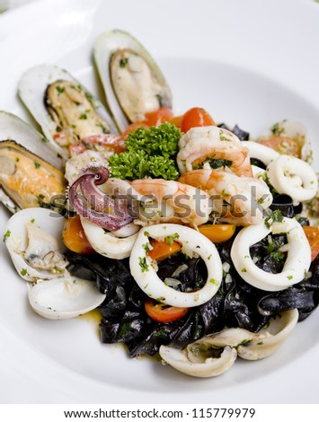 Black italian pasta - stock photo