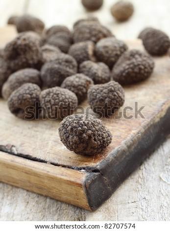 Black italian truffles - stock photo