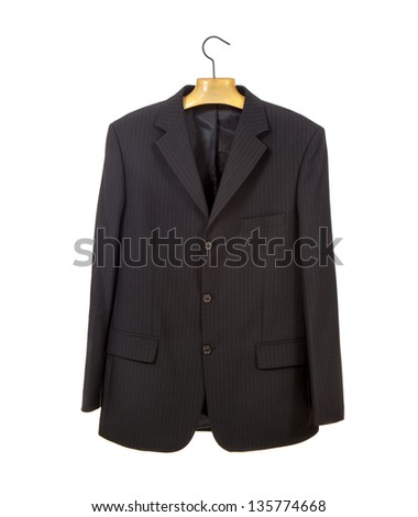 Black jacket on a plastic hanger isolated over white