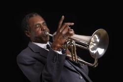 Black Jazz Flugelhorn Player, Studio Shot