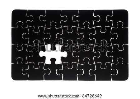 black jigsaw puzzle with missing piece isolated on white background