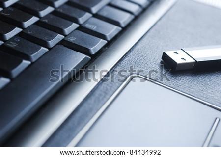 black keyboard of loptop close up