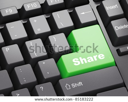 Black keyboard with green Share button