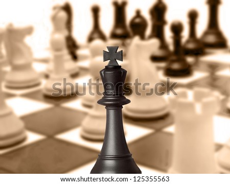 Black king chess piece in the chessboard