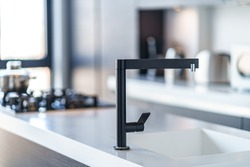 Black kitchen faucet with a white sink in a stylish modern kitchen