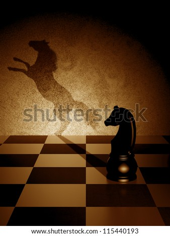 Black knight with an art shadow as a wild horse - stock photo