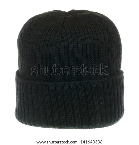 Black knit hat isolated on white background