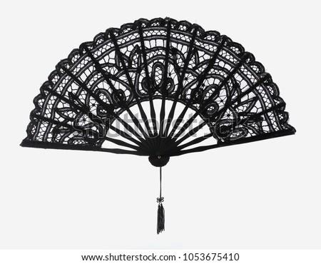 Black lace hand fan #1053675410