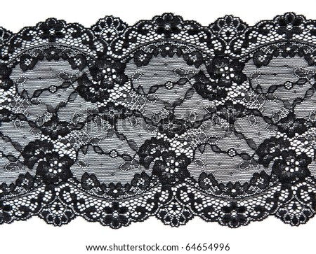 Black lace with pattern in the manner of flower on white background #64654996