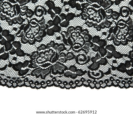Black lace with pattern with form flower on white background - stock photo