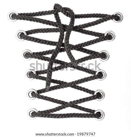 black laces isolated on white background
