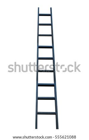 black ladder on white background stock photo