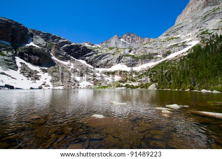 Black Lake and Rocky Mountains with glacier in summer, Rocky Mountains National Park, USA
