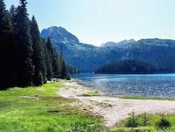Black Lake with high firs near it, mountains and hills on the background in Montenegro
