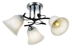 Black 3-lamp ceiling lamp with chrome base and matt white bell-shaped shades. Isolated on white background