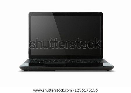black laptop front view with white background #1236175156