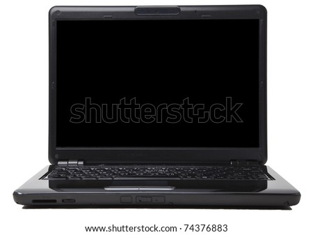 Black laptop isolated against a white background