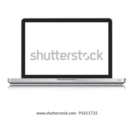 Black laptop isolated on white,clipping path included - stock photo