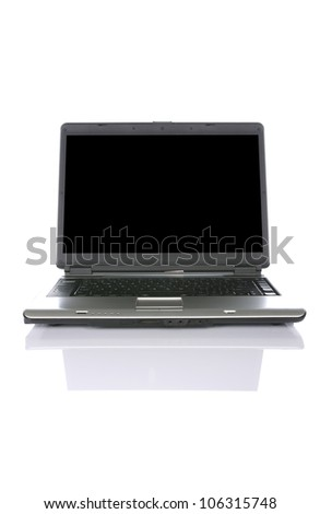 Black laptop isolated over white background. You can put your message on the screen