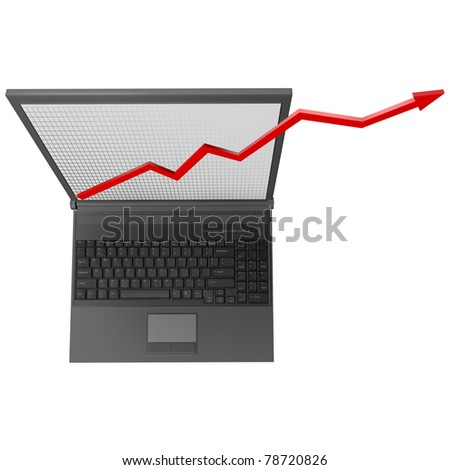 Black laptop with business red graph