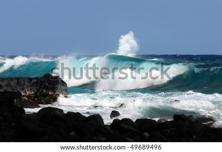 Black lava rocks form a rocky beach with aqua blue water.  Waves are high and this one curls and rolls over the black rocks of Ahalanui Beach on the Big Island of Hawaii.