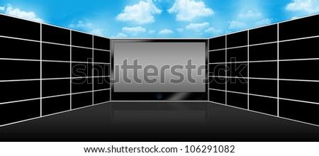 Black LCD Plasma TV Screen and Panel of Blank Wide Screen Monitor for Text Message  With Blue Sky Background Above