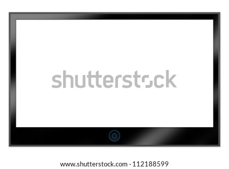 Black LCD Plasma TV Screen Hanging on a White Wall With Some Space for Text Message Isolated on White Background