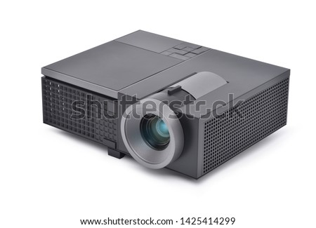 Black LCD Projector video presentation and home Entertainment isolated on white background with clipping path #1425414299