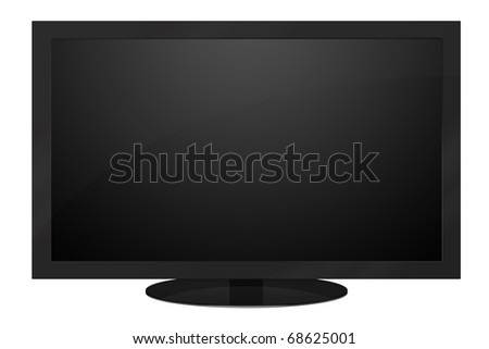 Black LCD TV isolated on white background - stock photo