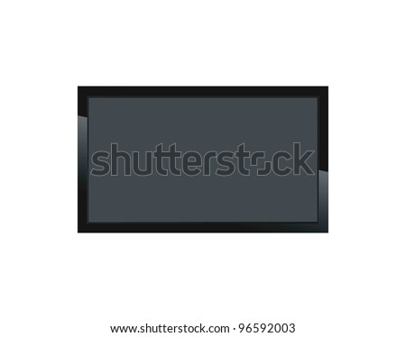 Black LCD tv screen hanging on a wall #96592003