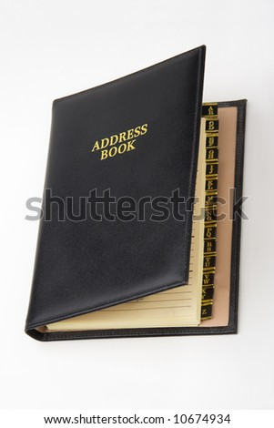 Black Leather Address Book Alphabetical Tabs Visible
