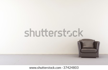 Black leather Armchair to face a blank white wall - right side