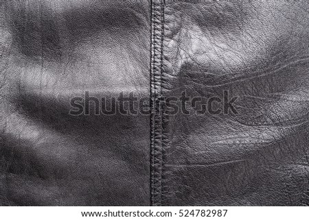 Black Leather Background Is Visible Texture Of The Skin Upholstery