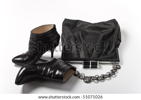 Black Leather Bag and shoes