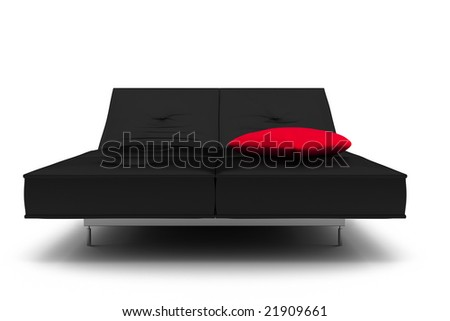 black leather bed isolated on white background