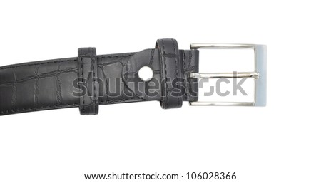 Black leather belt with a rectangular buckle isolated on white background