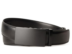 Black leather belt with black metal buckle