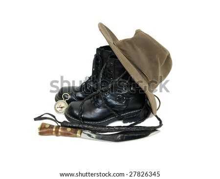 Black leather boots, hat, knife, whip and a compass make a great adventure kit-Path included