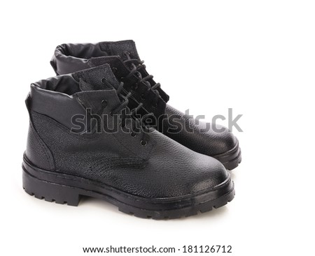 Black leather boots. Isolated on a white background.