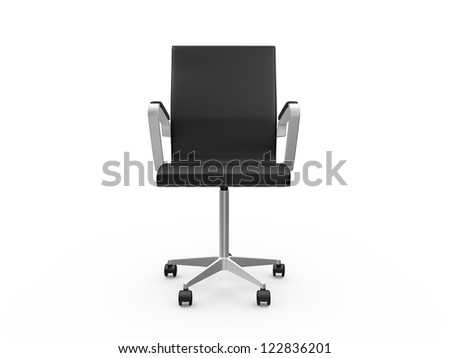 Black leather boss chair for office, front view, isolated on white background.