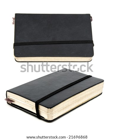 black leather bound notebook from  two angles