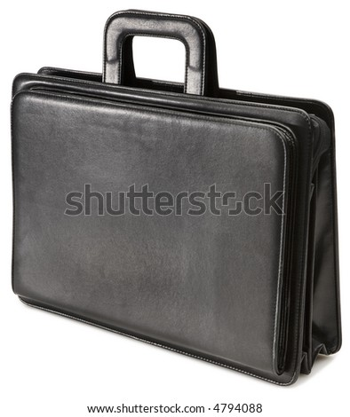 Black Leather Briefcase - isolated on white