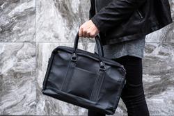 Black leather briefcase laptop handbag messenger business bags for men