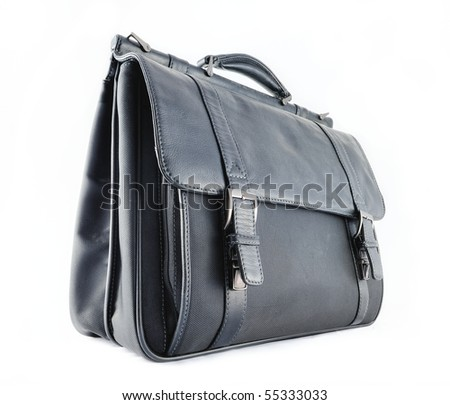 Black leather briefcase on the white background