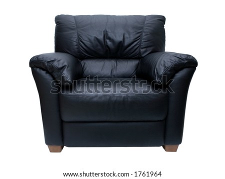 Black leather chair on a white background